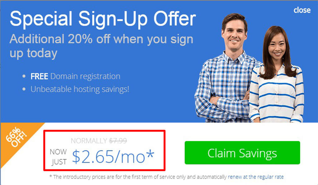 Bluehost Offer for First Time