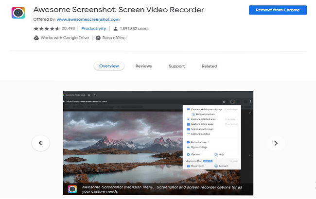 Awesome Screenshot extension