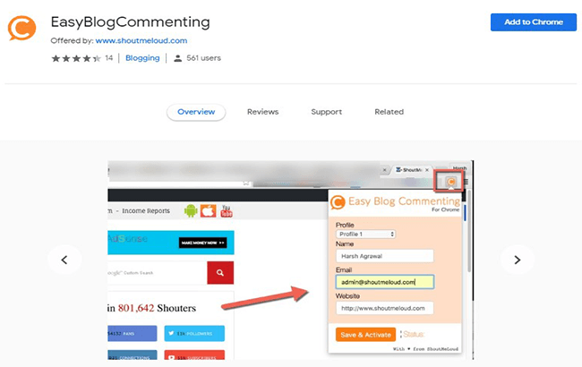Easy Blog Commenting free extension
