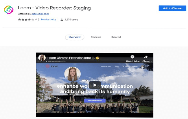 Loom Video recorder Chrome extension