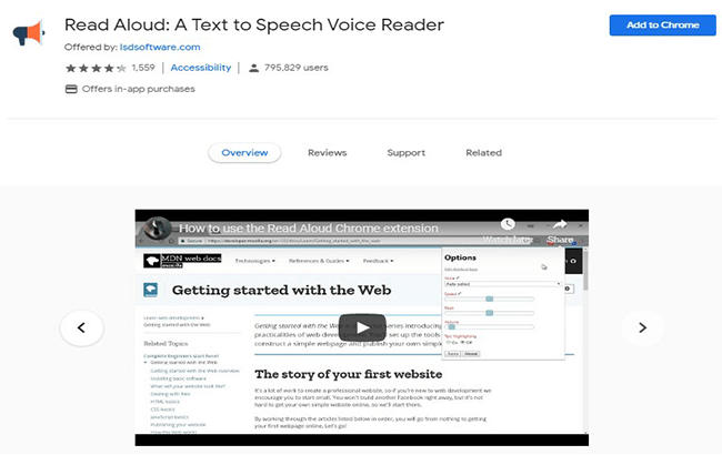 Read Aloud chrome extension for bloggers