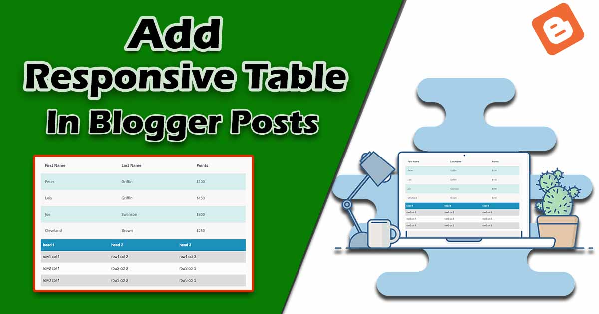 add responsive table in blogger posts